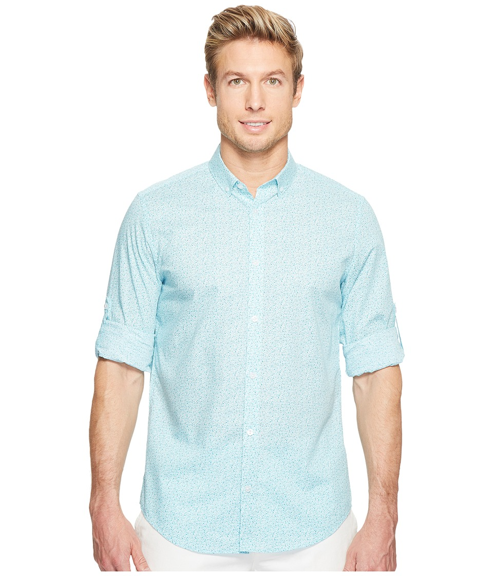 Calvin Klein - Voile Floral Dot Roll-Tab Button Down (Aqua Air) Men's Long Sleeve Button Up