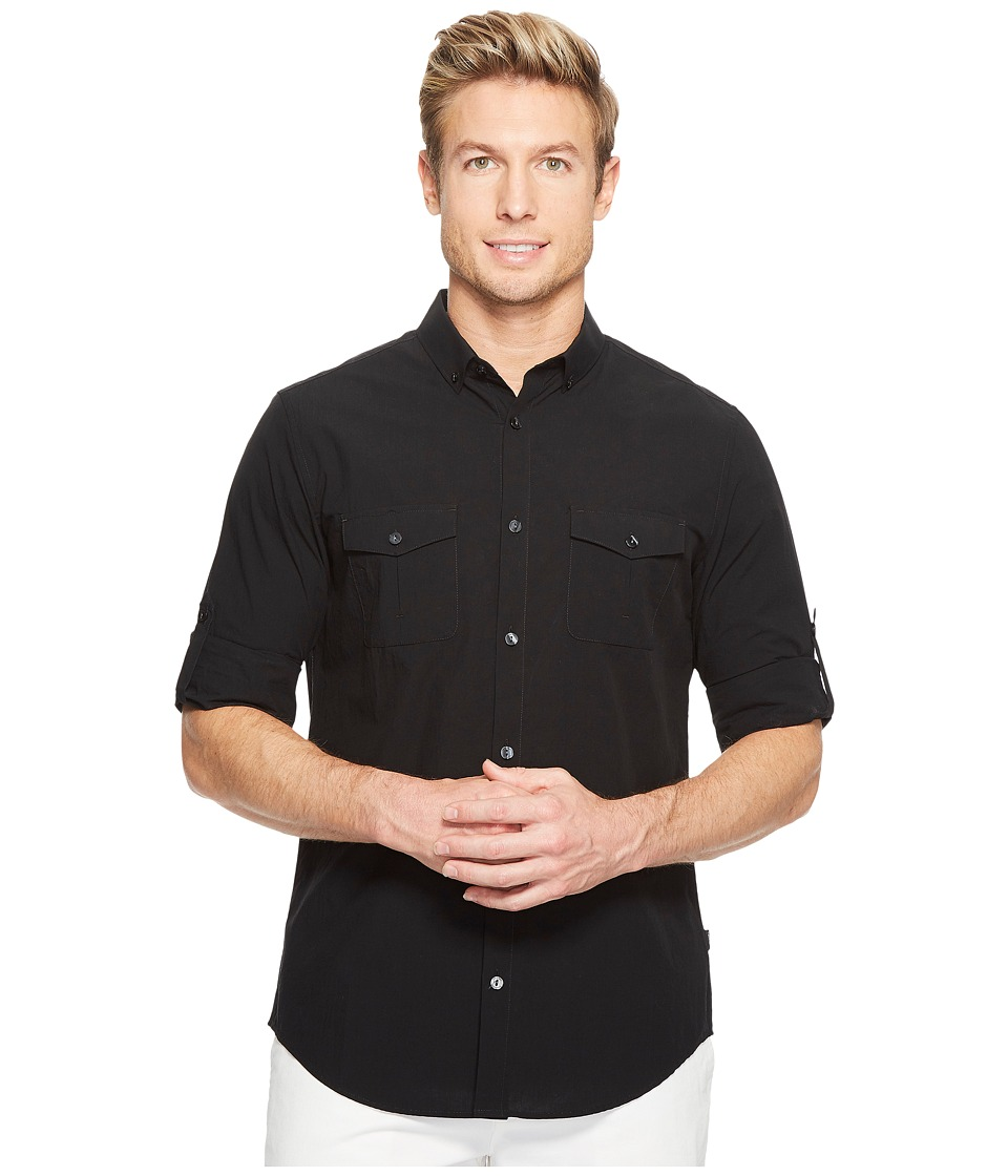 Calvin Klein - Fine Seersucker Voile Roll-Tab Button Down (Black) Men's Long Sleeve Button Up