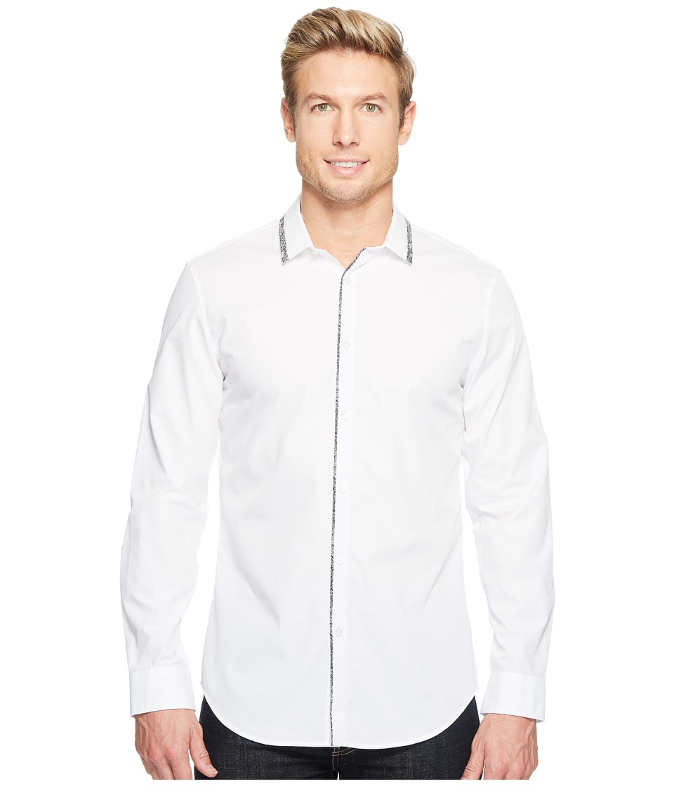 Calvin Klein - Printed Trim Collar Button Down Shirt (White) Men's Long Sleeve Button Up