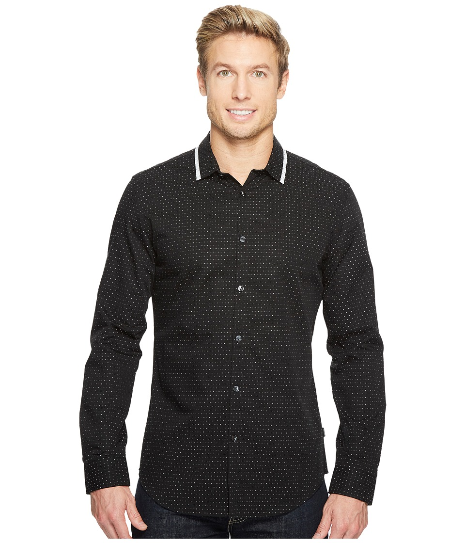 Calvin Klein - Deco Dobby Button Down Shirt (Black) Men's Long Sleeve Button Up