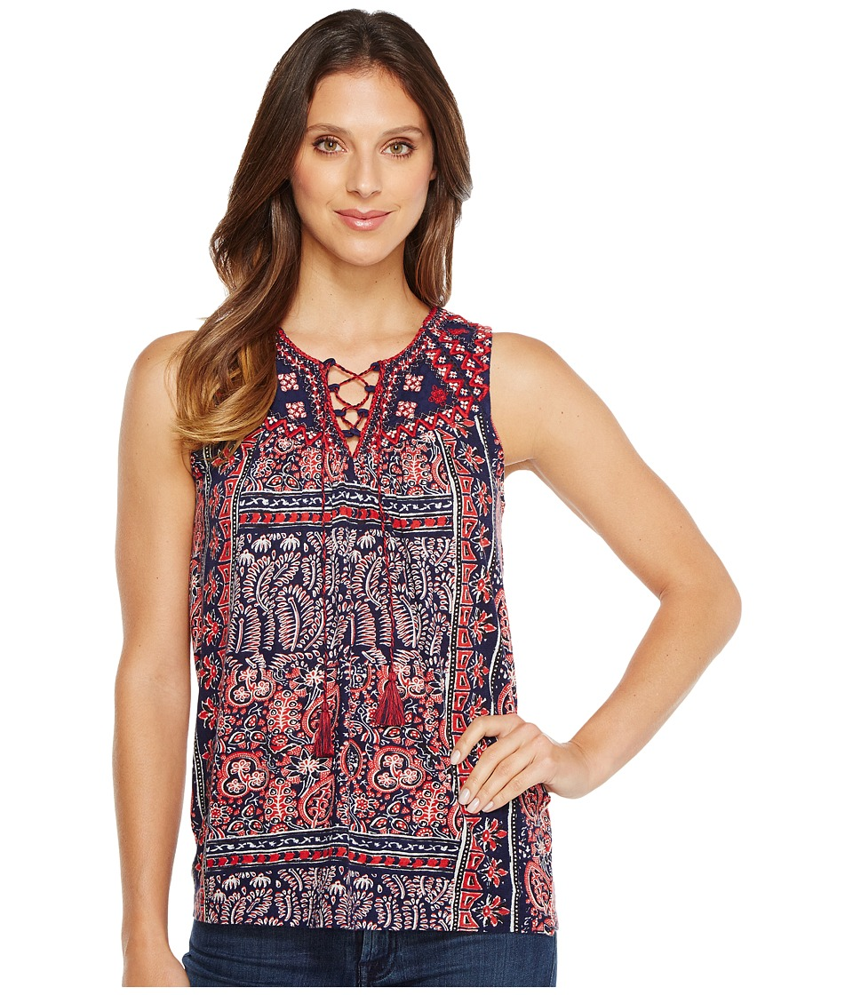 Lucky Brand - Paisley Lace-Up Tank Top (Navy Multi) Women's Sleeveless