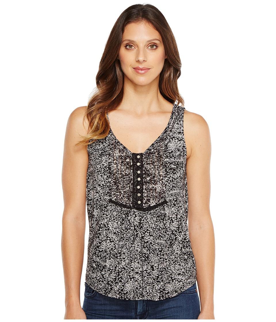 Lucky Brand - Black White Printed Tank Top (Black Multi) Women's Sleeveless