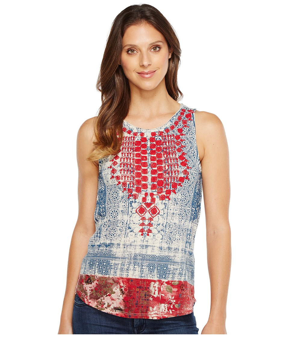 Lucky Brand - Embroidered Bib Tank Top (Blue Multi) Women's Sleeveless