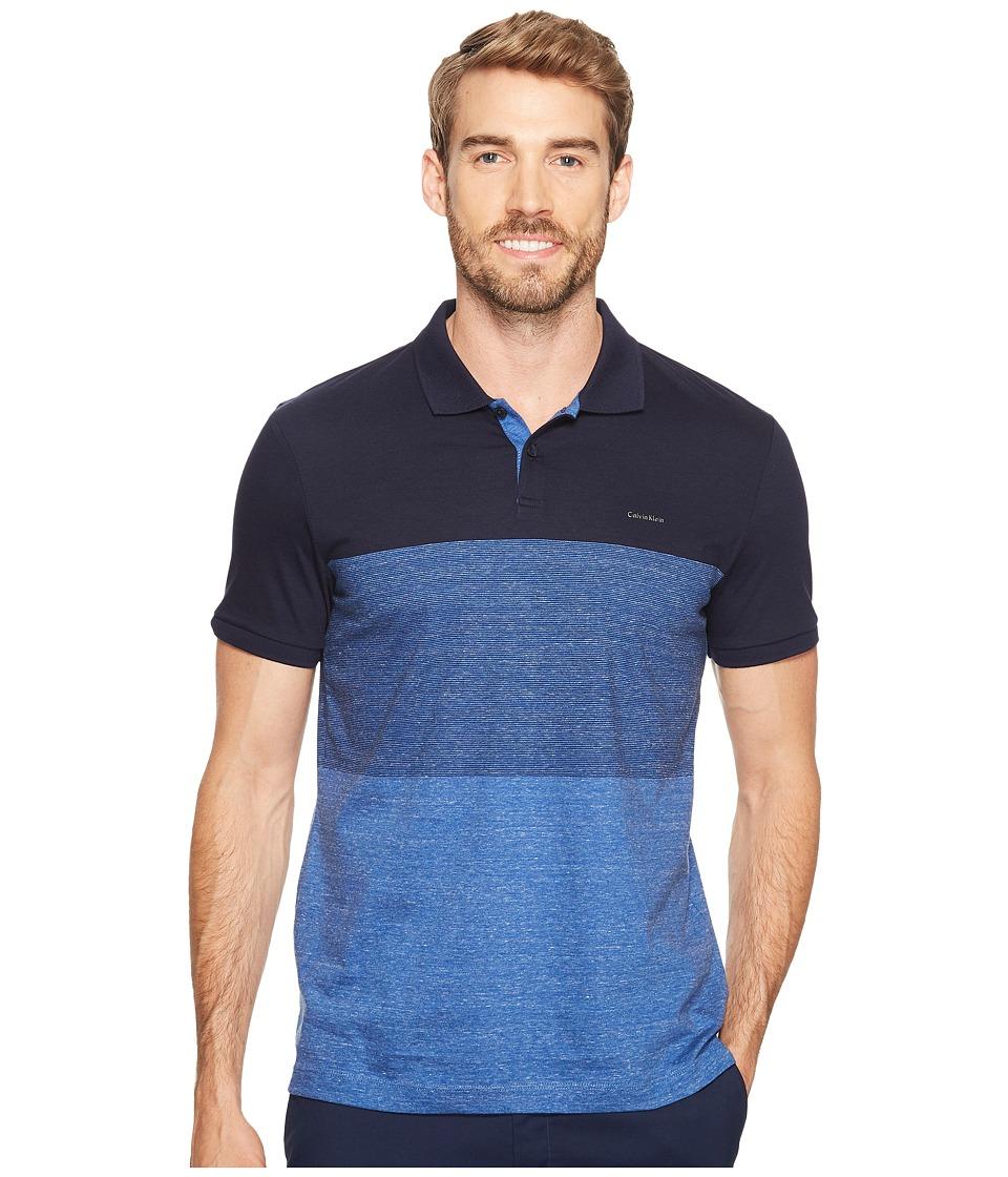 Calvin Klein - Engineered Stripe Polo Shirt (Cadet Navy) Men's Short Sleeve Pullover