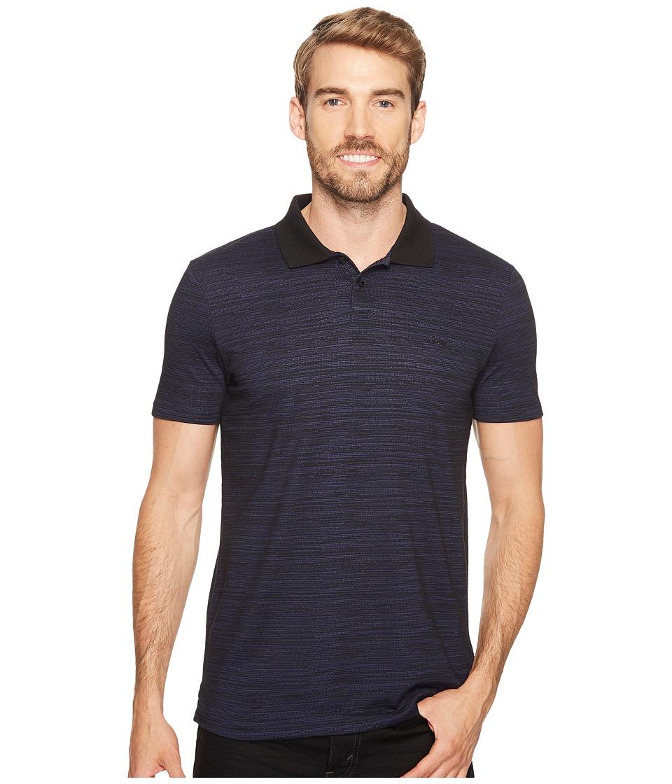 Calvin Klein - Mesh Plated Jersey Polo Shirt (Black) Men's Short Sleeve Pullover