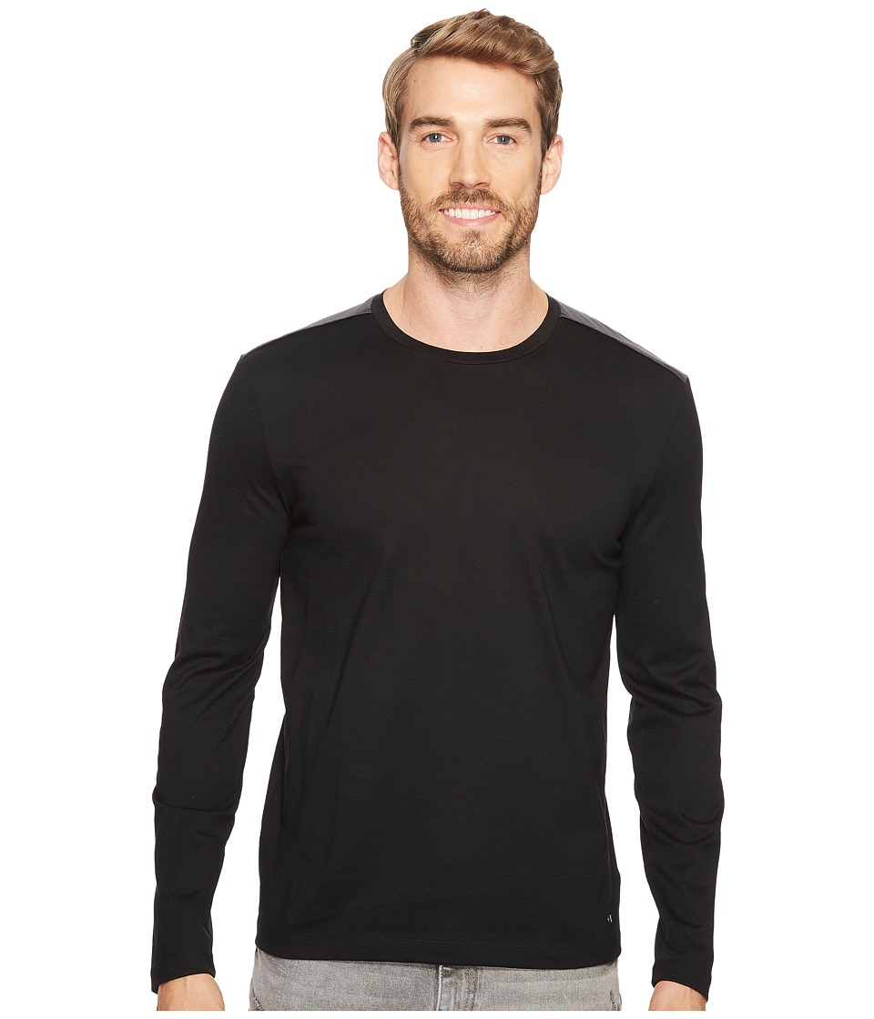 Calvin Klein - Textured Jersey Shirt with Shoulder Detail (Black) Men's Clothing