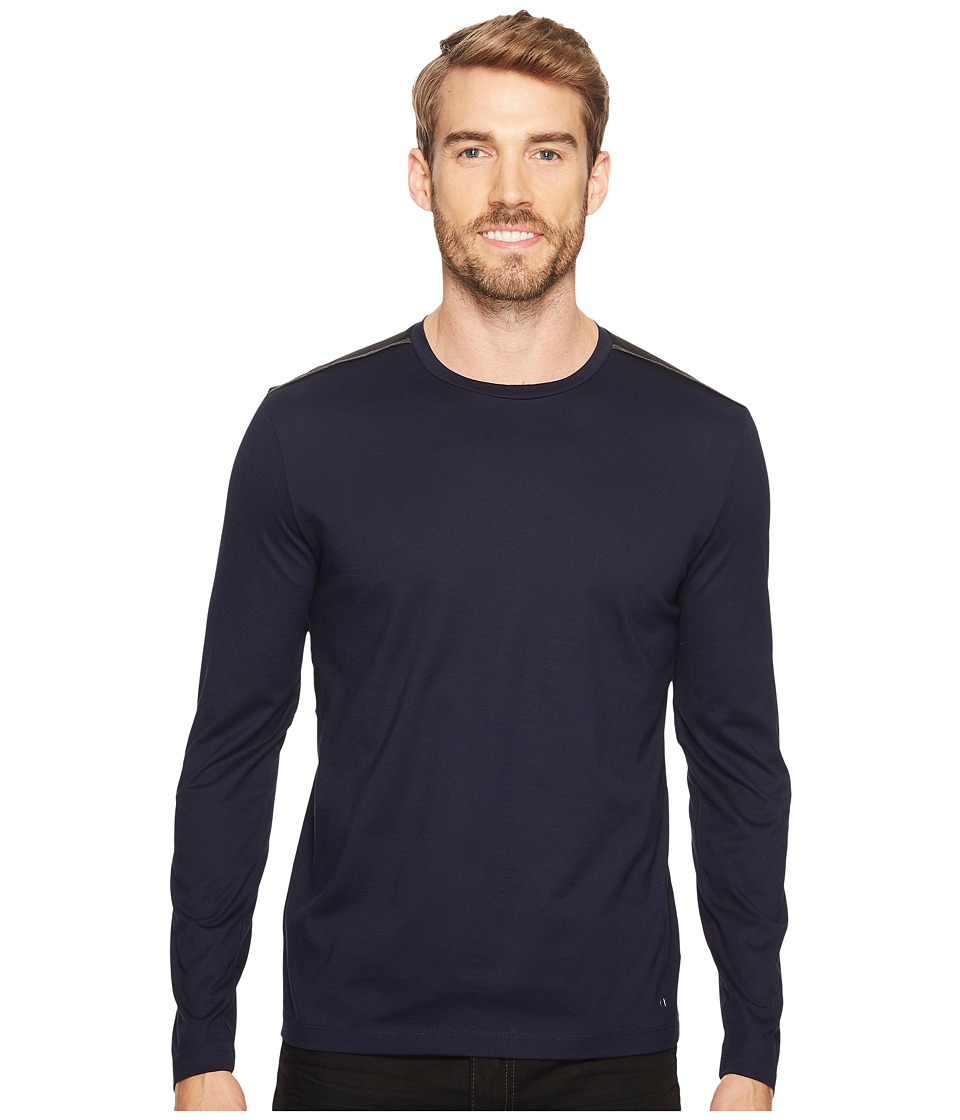 Calvin Klein - Textured Jersey Shirt with Shoulder Detail (Cadet Navy) Men's Clothing