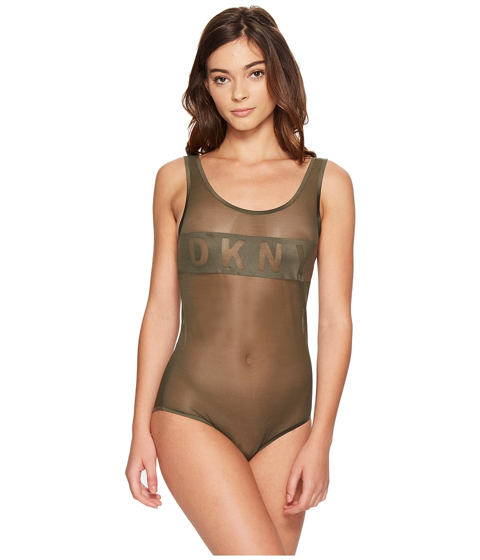 DKNY Intimates - Blocked Logo Bodysuit (Military) Women's Jumpsuit & Rompers One Piece