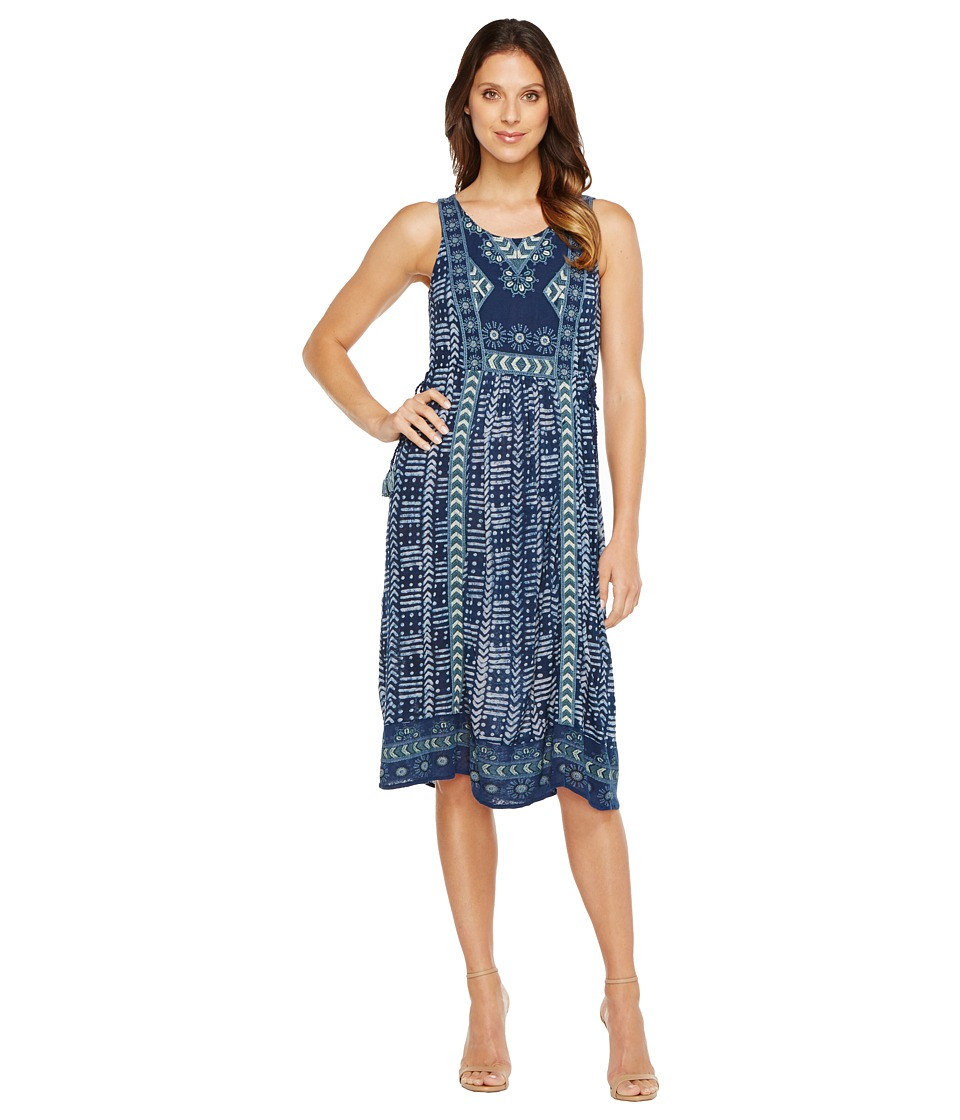 Lucky Brand - Embroidered Printed Dress (Blue Multi) Women's Dress
