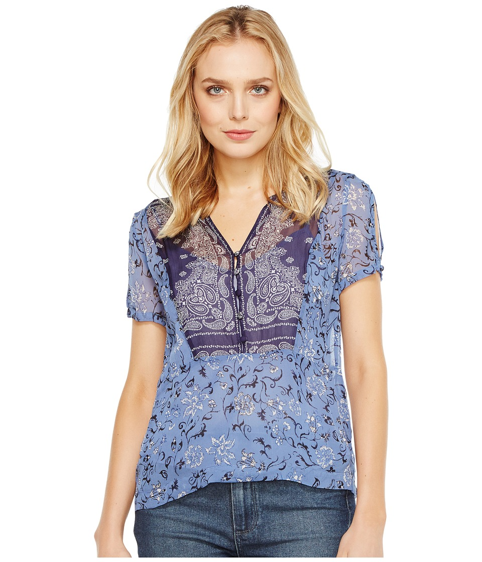Lucky Brand - Scarf Print Top (Navy Multi) Women's Short Sleeve Pullover