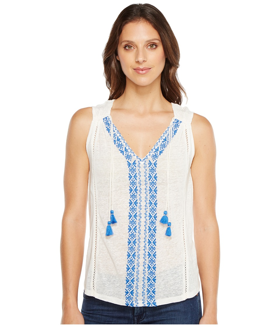 Lucky Brand - Embroidered Center Front Top (Marshmallow) Women's Clothing