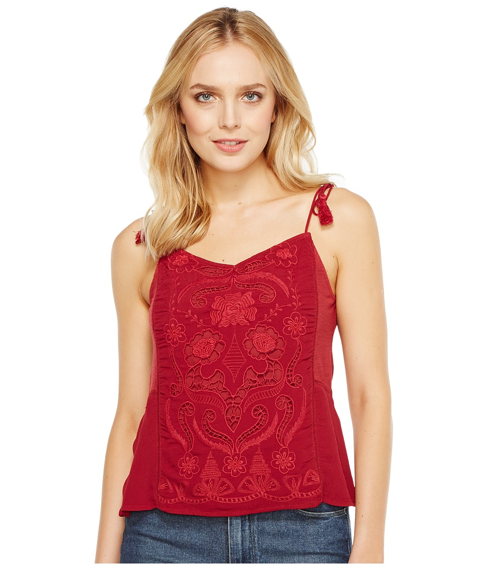 Lucky Brand - Washed Embriodered Top (Biking Red (Prior Season)) Women's Sleeveless