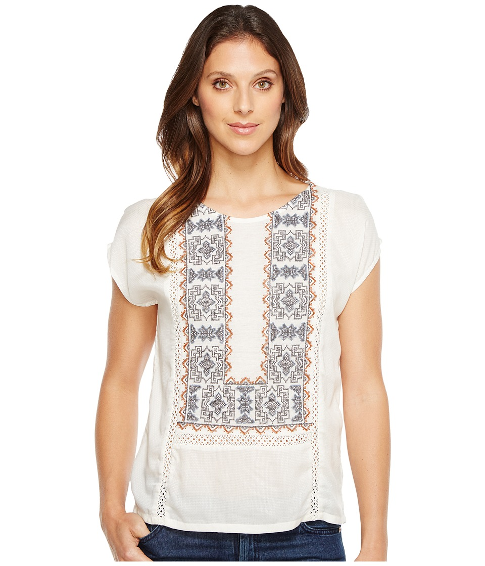 Lucky Brand - Embroidered Mix Top (Marshmallow) Women's Short Sleeve Pullover