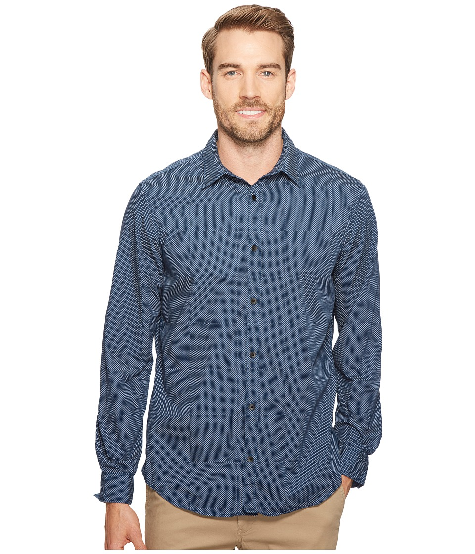 Calvin Klein Jeans - Mini Diamond Printed Button Down (Insignia Blue) Men's Long Sleeve Button Up