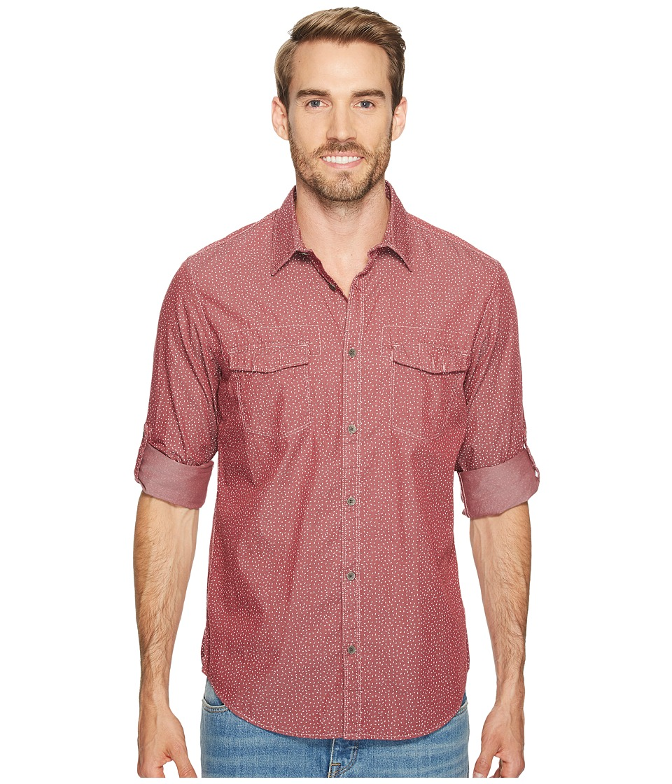 Calvin Klein Jeans - Tack Print On Chambray Button Down (Red Earth) Men's Long Sleeve Button Up