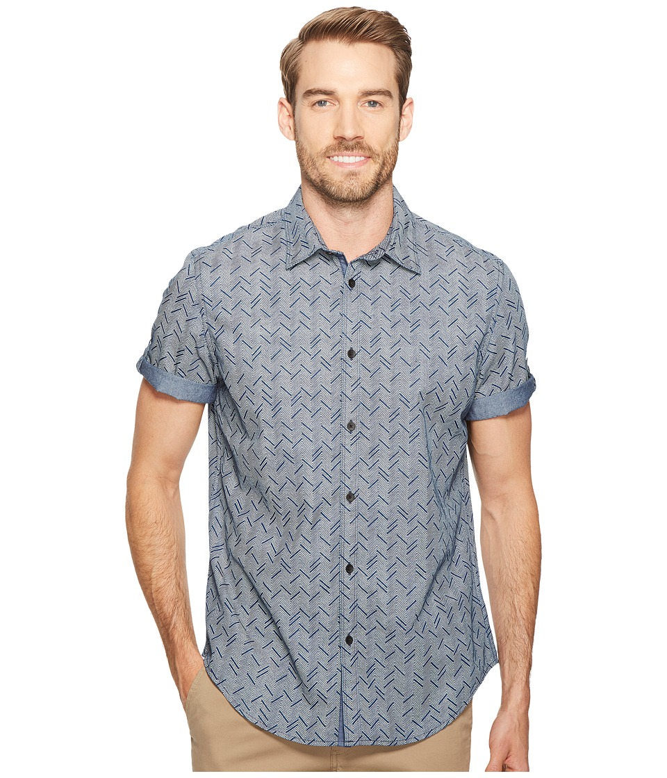 Calvin Klein Jeans - Herringbone Roll-Tab Button Down (Indigo) Men's Short Sleeve Button Up