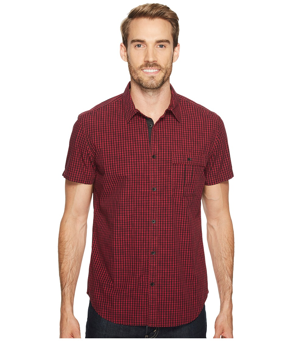 Calvin Klein Jeans - Space Dye Gingham Button Down (Race Car Red) Men's Short Sleeve Button Up