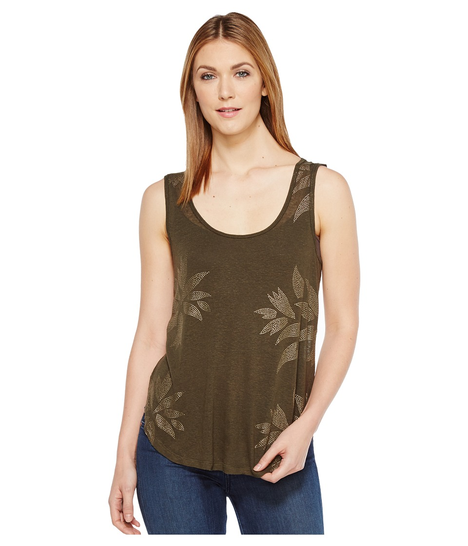 Lucky Brand - Metallic Leaf Tank Top (Olive) Women's Sleeveless