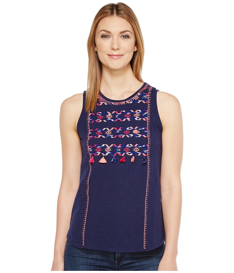 Lucky Brand - Geo Embroidered Tank Top (Medieval Blue) Women's Sleeveless