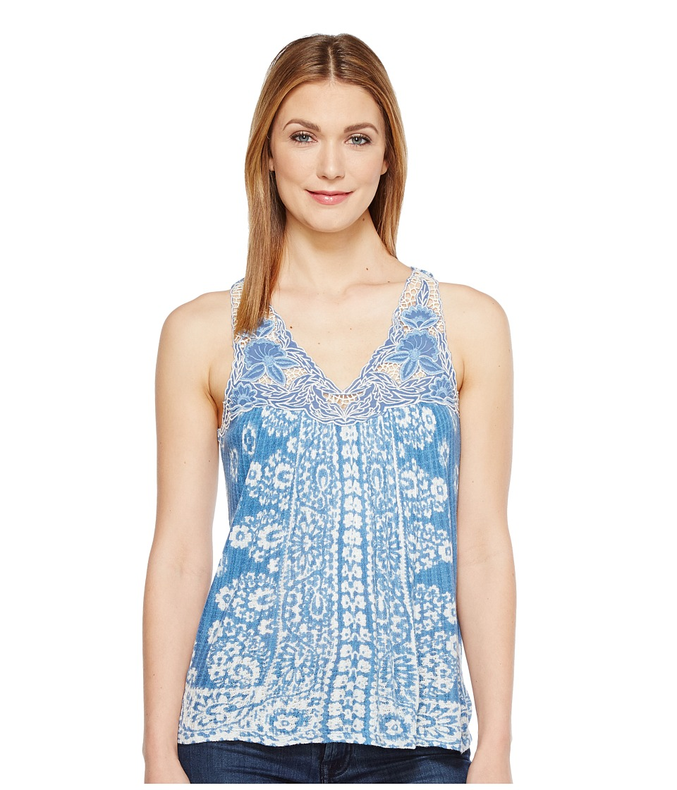 Lucky Brand - Floral Lace Yoke Tank Top (Blue Multi) Women's Sleeveless