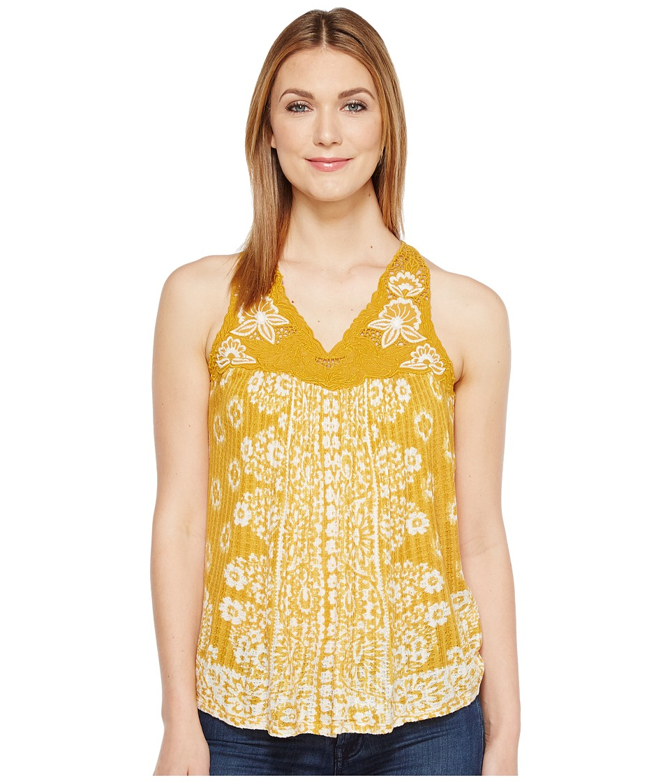 Lucky Brand - Floral Lace Yoke Tank Top (Golden Yellow) Women's Sleeveless