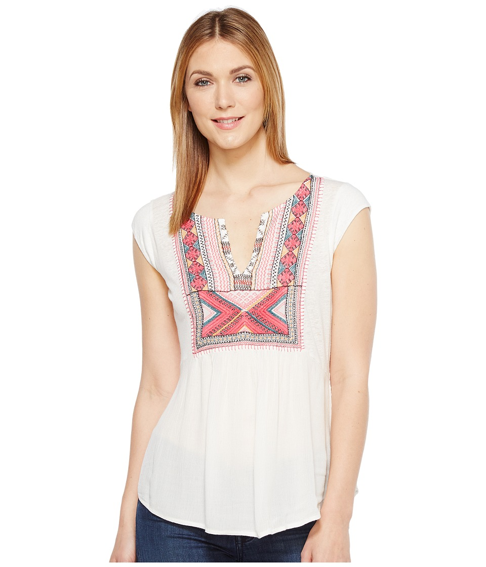 Lucky Brand - Embroidered Bib Tank Top (Eggshell) Women's Sleeveless