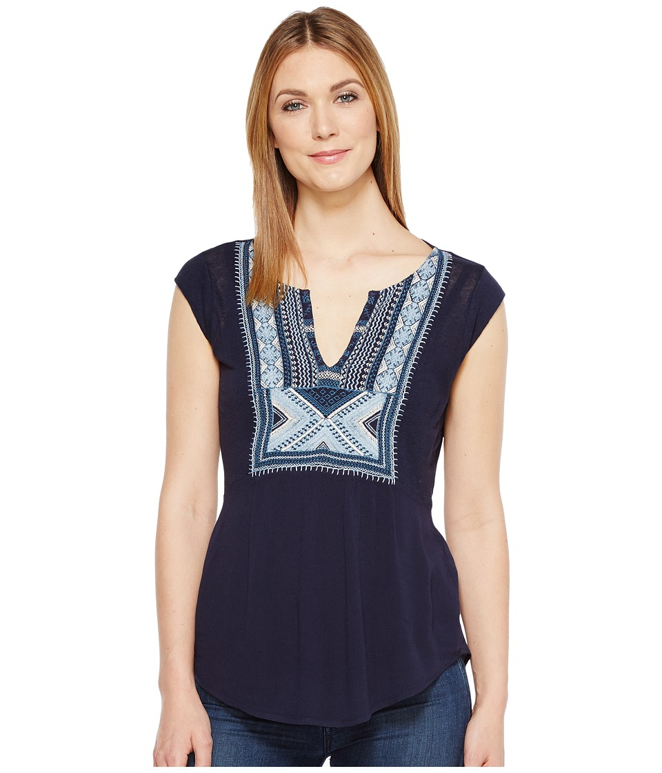 Lucky Brand - Embroidered Bib Tank Top (American Navy) Women's Sleeveless