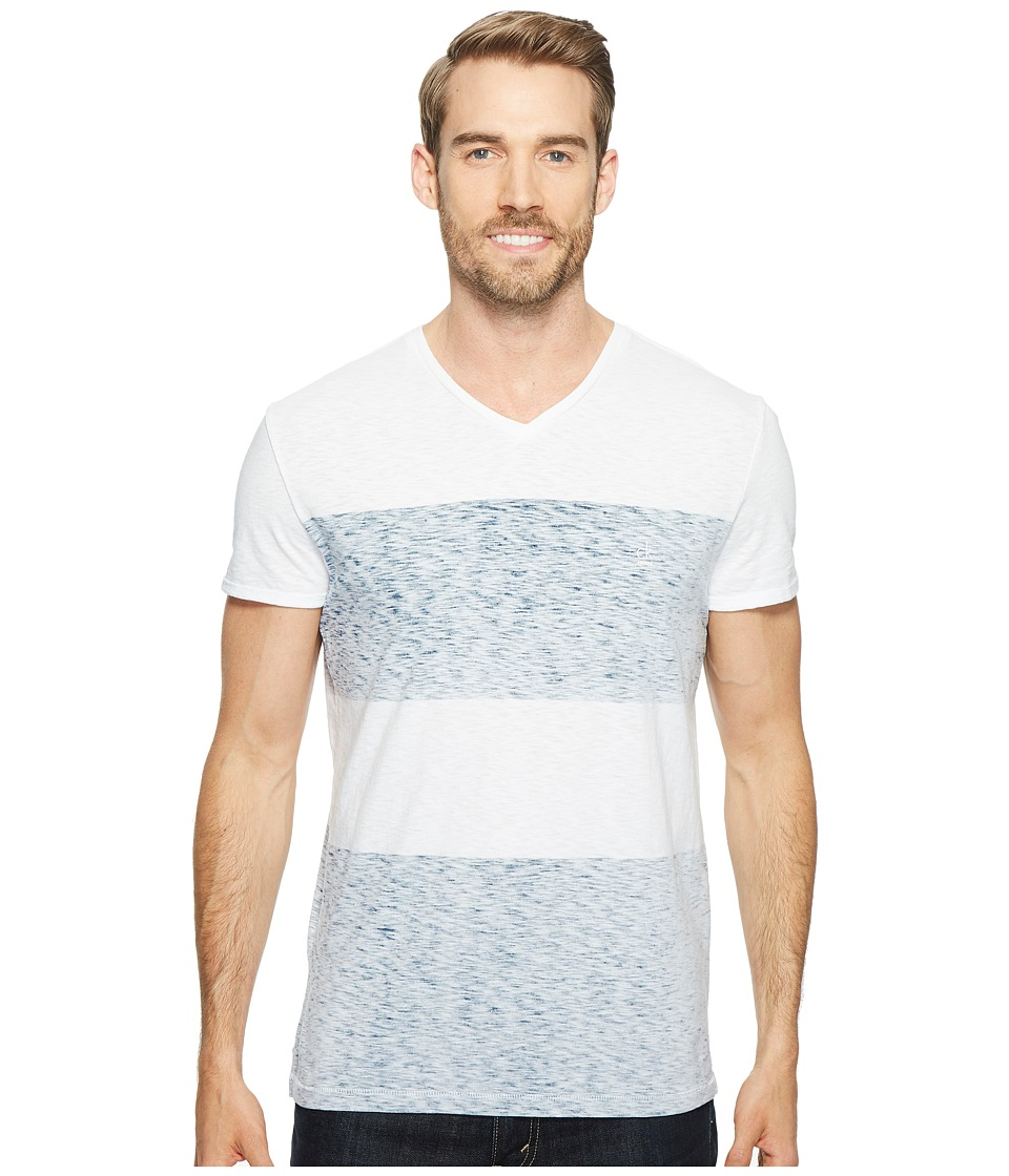 Calvin Klein Jeans - Reverse Blotch Color Block V-Neck T-Shirt (White) Men's T Shirt