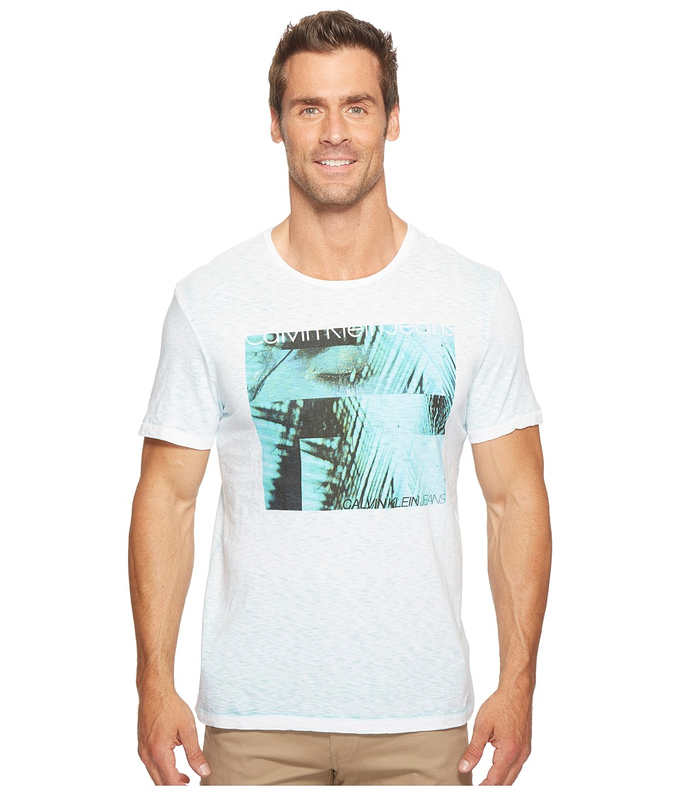 Calvin Klein Jeans Palm Eyes Crew Neck T-Shirt (White Wash) Men