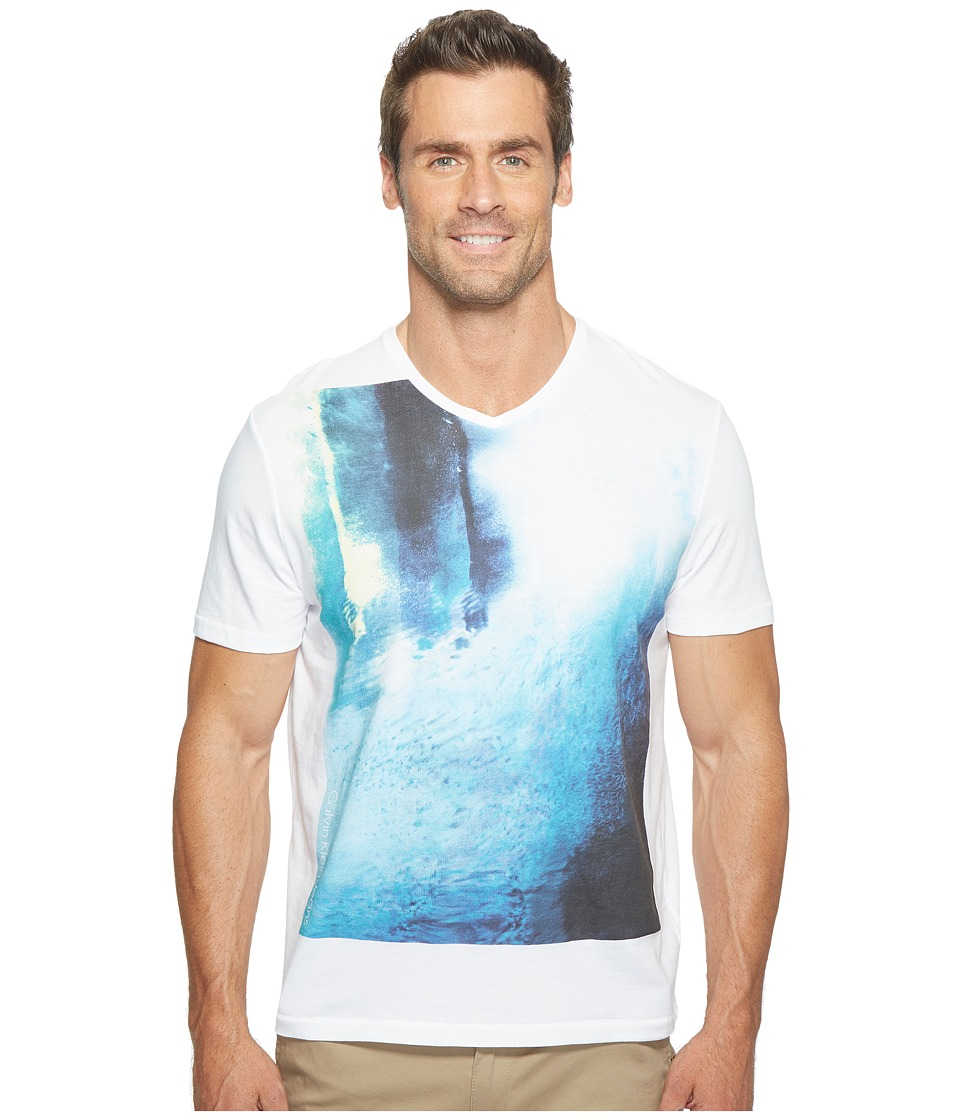 Calvin Klein Jeans - Underwater Graphic V-Neck T-Shirt (White Wash) Men's T Shirt