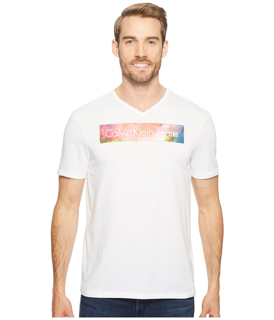 Calvin Klein Jeans Rainbow Logo Bar V-Neck T-Shirt (White Wash) Men