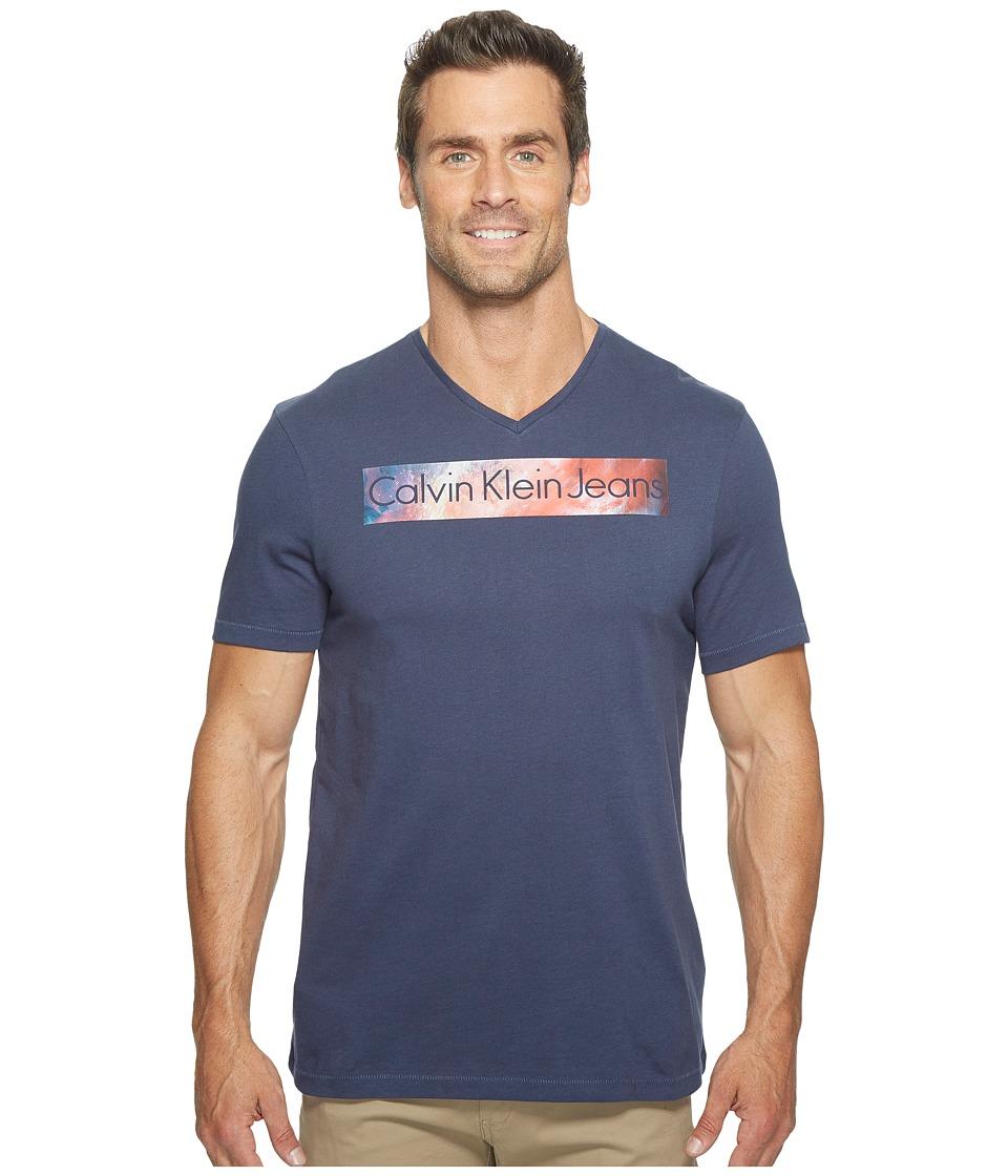 Calvin Klein Jeans - Rainbow Logo Bar V-Neck T-Shirt (Mood Indigo) Men's T Shirt