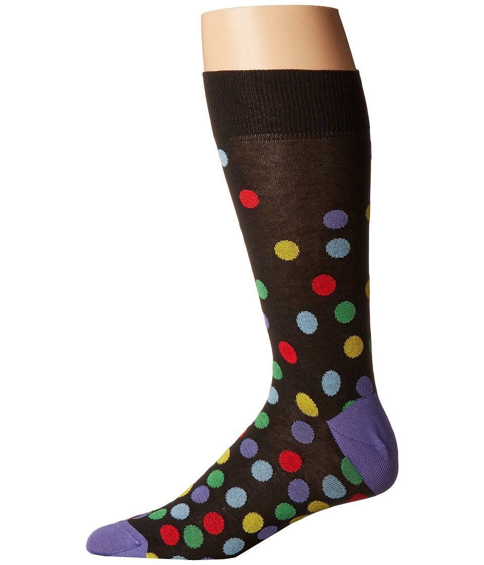 BUGATCHI - Multi Dot Socks (Black) Men's Quarter Length Socks Shoes