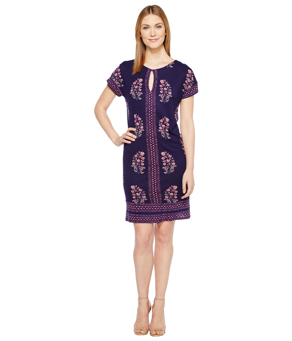 Lucky Brand - Printed Tee Dress (Navy Multi) Women's Dress