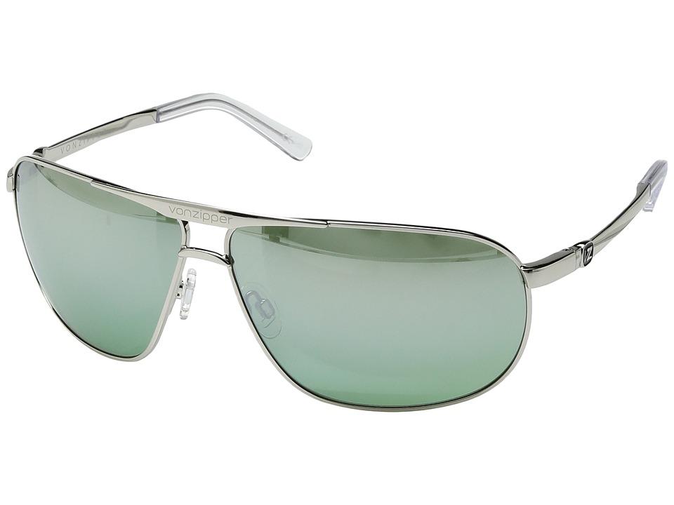 VonZipper - Skitch (Silver Gloss/Green Chrome) Sport Sunglasses