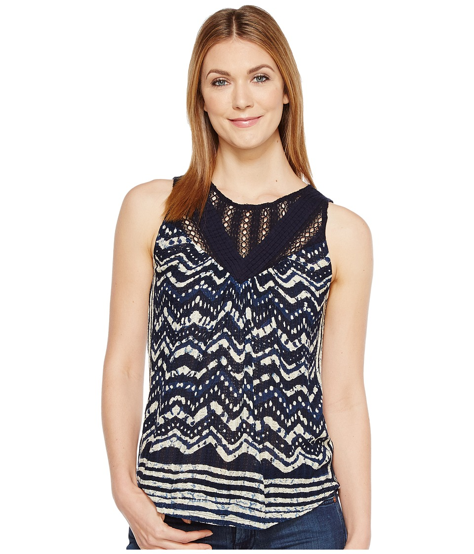 Lucky Brand - Batik Drop Needle Top (Blue Multi) Women's Sleeveless