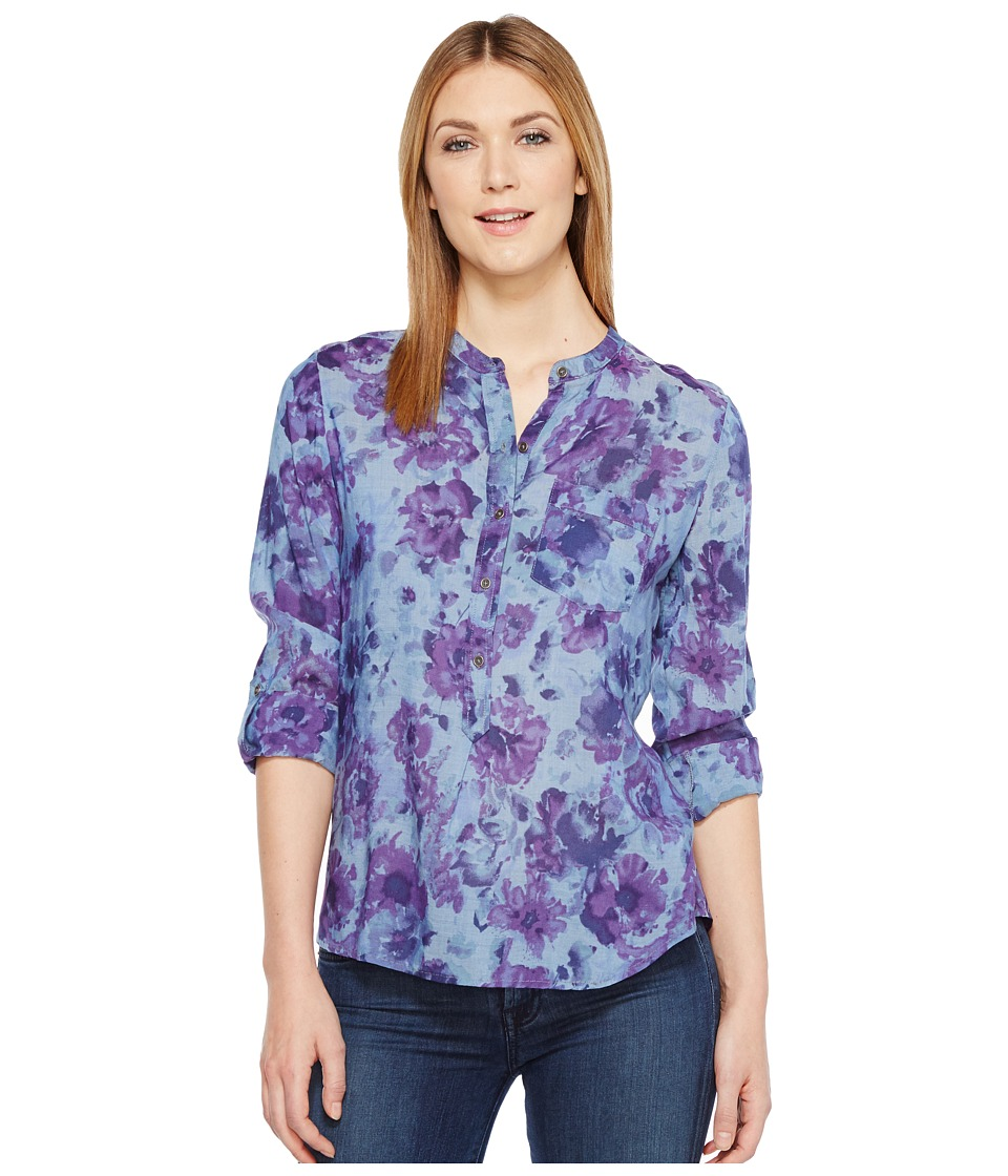 Lucky Brand - Printed Chambray Popover Top (Blue Multi) Women's Clothing