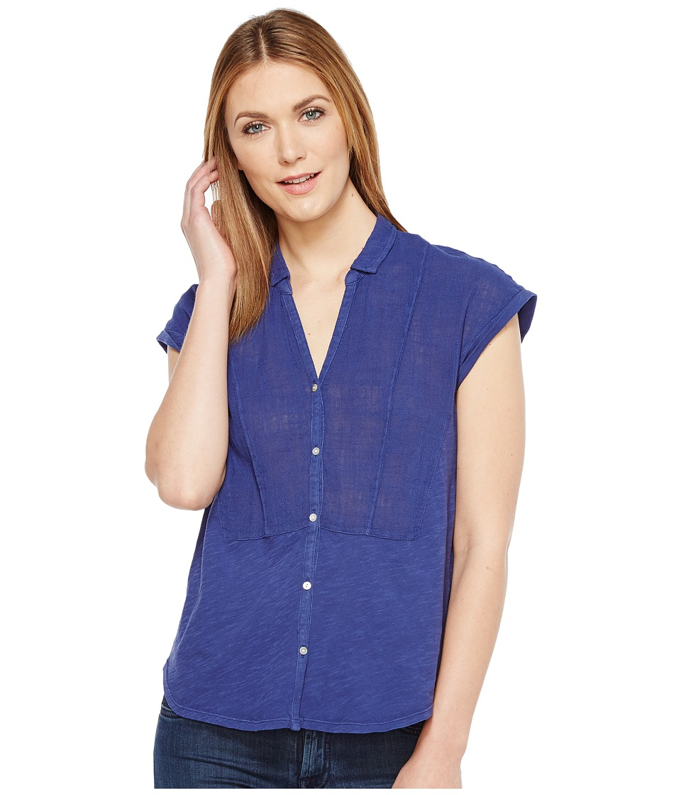 Lucky Brand - Woven Gauze Mixed Top (Medieval Blue) Women's Short Sleeve Button Up