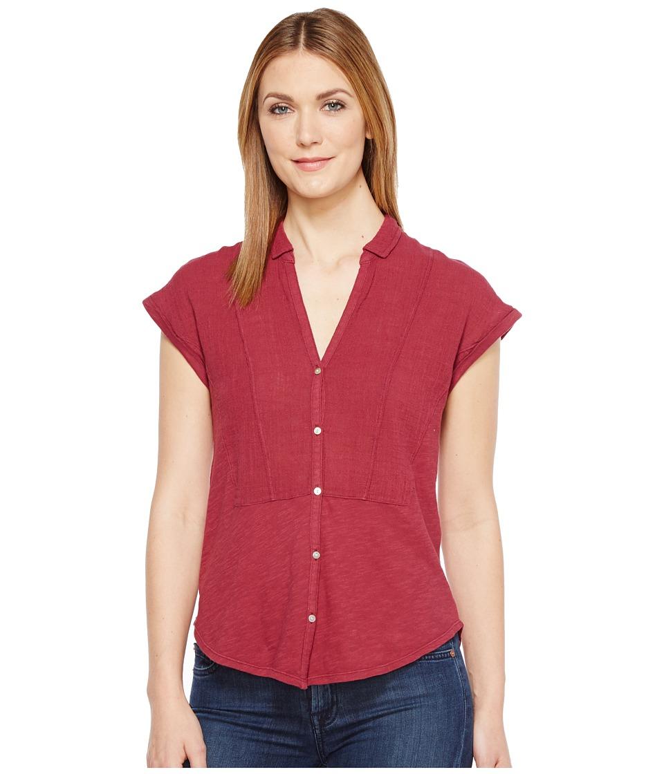 Lucky Brand - Woven Gauze Mixed Top (Wild Currant) Women's Short Sleeve Button Up