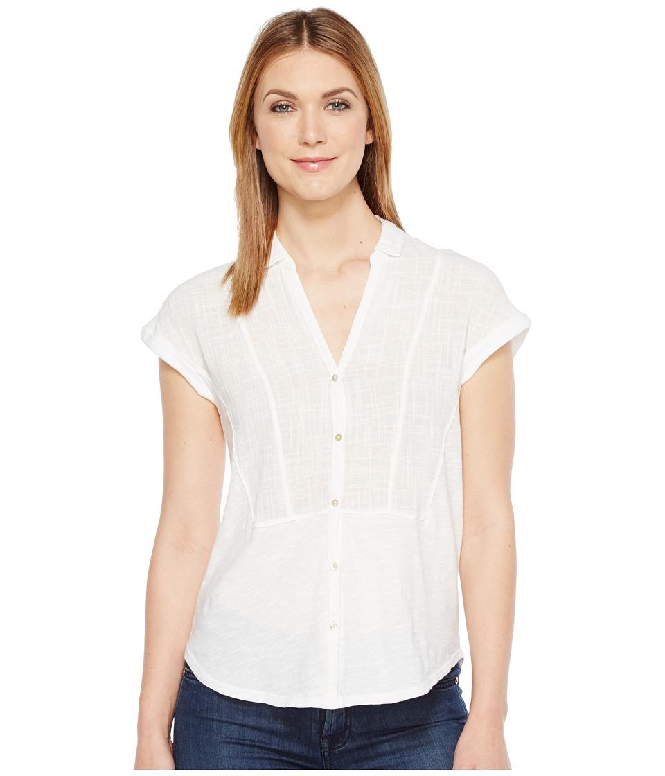 Lucky Brand - Woven Gauze Mixed Top (Lucky White) Women's Short Sleeve Button Up