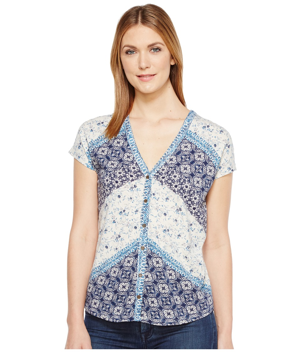 Lucky Brand - Bali Ditsy Top (Blue Multi) Women's Short Sleeve Pullover