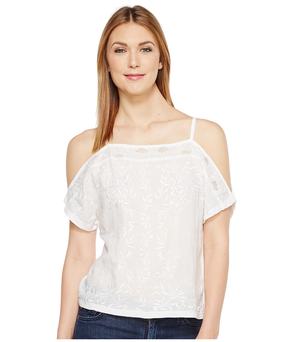 Lucky Brand - Embroidered Cold Shoulder Top (Bright White) Women's Short Sleeve Pullover