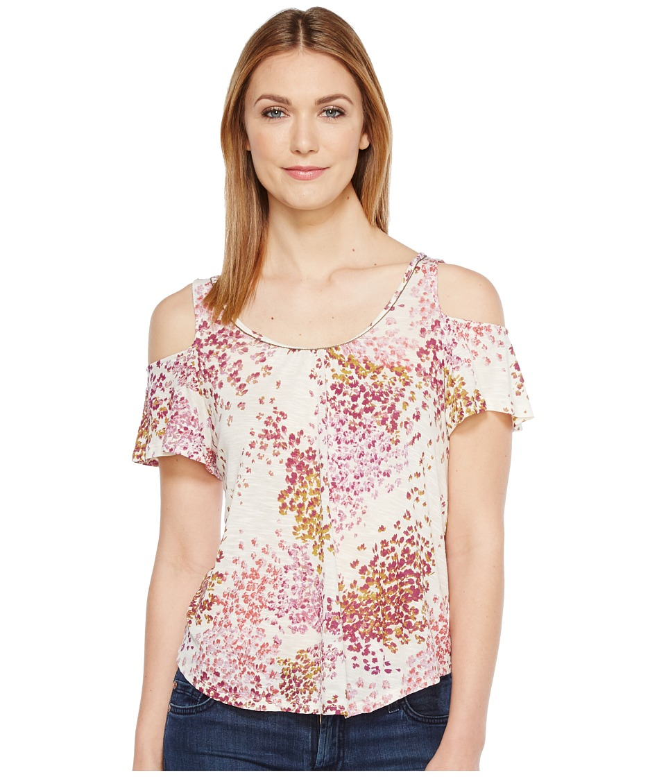 Lucky Brand - Floral Cold Shoulder Top (Natural Multi) Women's Short Sleeve Pullover