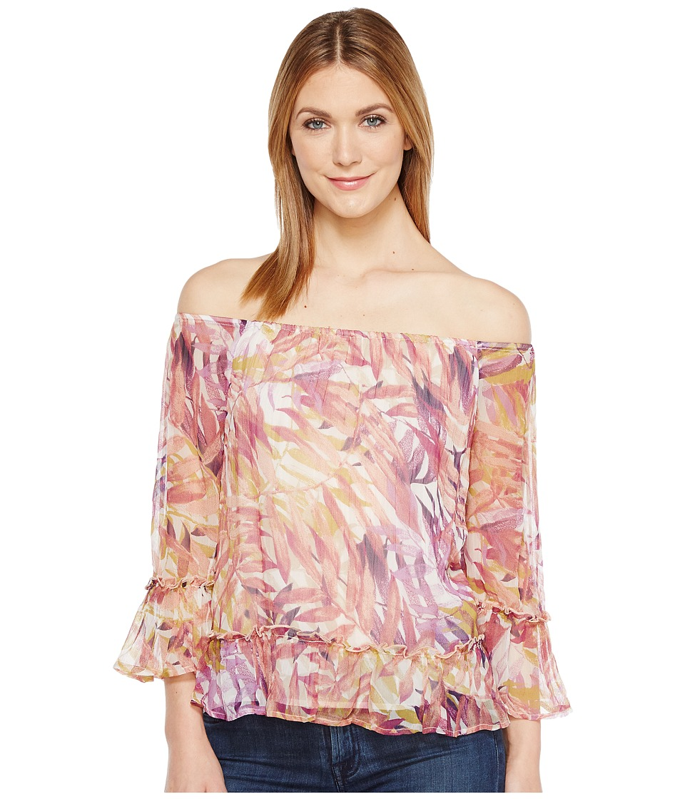 Lucky Brand - Palm Print Off the Shoulder Top (Multi) Women's Long Sleeve Pullover