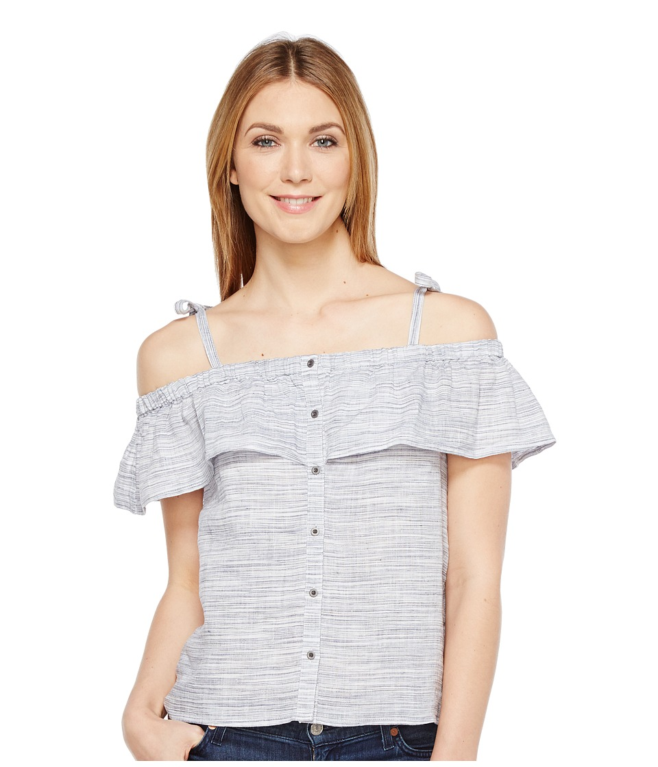 Lucky Brand - Space Dyed Ruffle Top (Blue Multi) Women's Short Sleeve Pullover