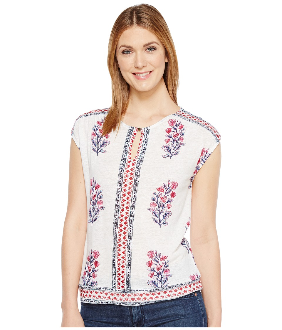 Lucky Brand - Wood Block Floral Top (Natural Multi) Women's Clothing