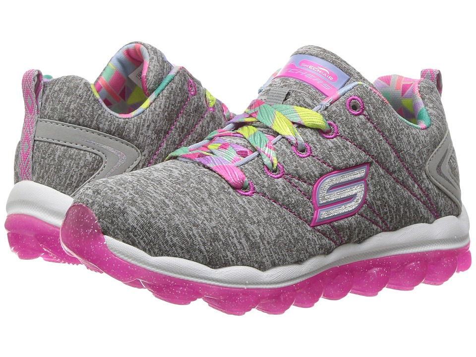 SKECHERS KIDS - Skech Air Bounce Life (Little Kid/Big Kid) (Grey/Hot Pink) Girl's Shoes