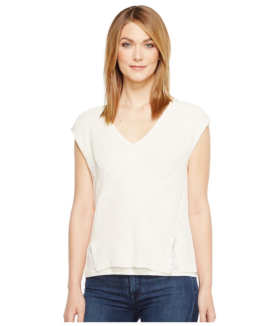 Lucky Brand - V-Neck Mixed Stitch Sweater (Eggshell) Women's Sweater