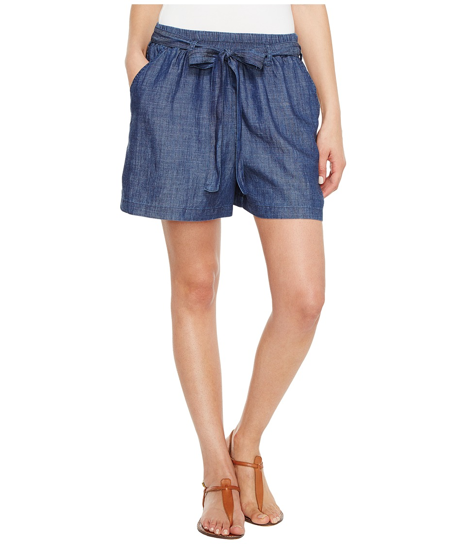 Lucky Brand Tie Front Chambray Shorts in Blue Chambray (Blue Chambray) Women