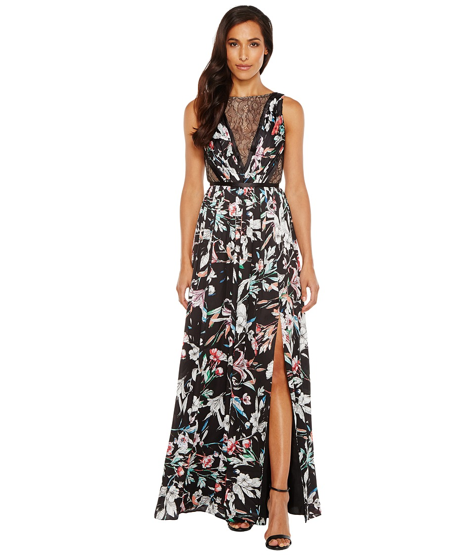 Adrianna Papell - Print Satin Chiffon Gown (Black Multi) Women's Dress